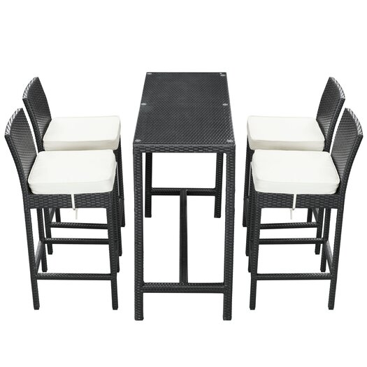 Modway Portland 5 Piece Pub Dining Set with Cushions