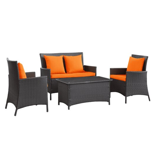 Modway Flourish 4 Piece Deep Seating Group with Cushion