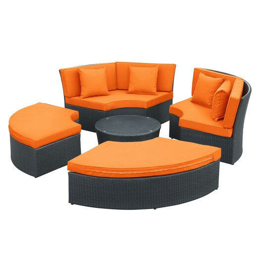 Modway Pursuit Circular 5 Piece Sectional Daybed Seating Group with Cushions