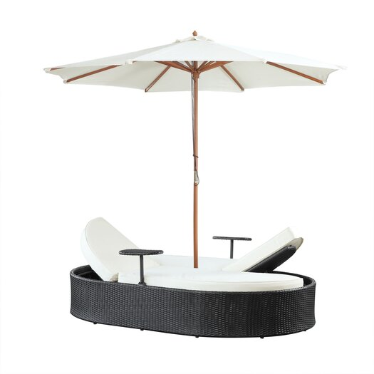 Modway Nagoya Double Chaise Lounge with Cushions