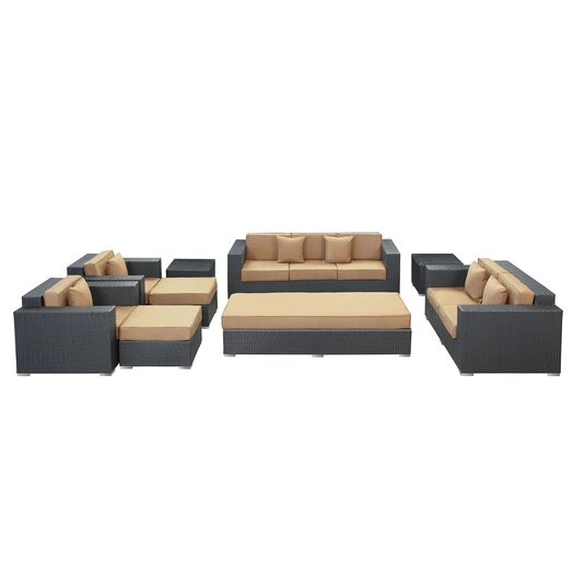 Modway Eclipse 9 Piece Deep Seating Group with Cushions