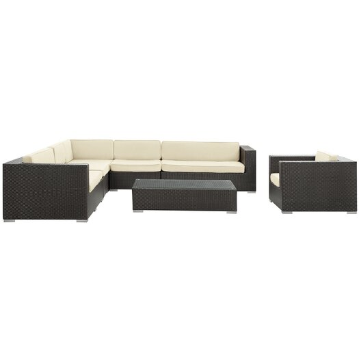 Modway Palm Springs 7 Piece Sectional Deep Seating Group with Cushions