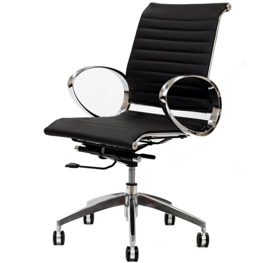 Modway Ribbed Mid-Back Leather Office Chair