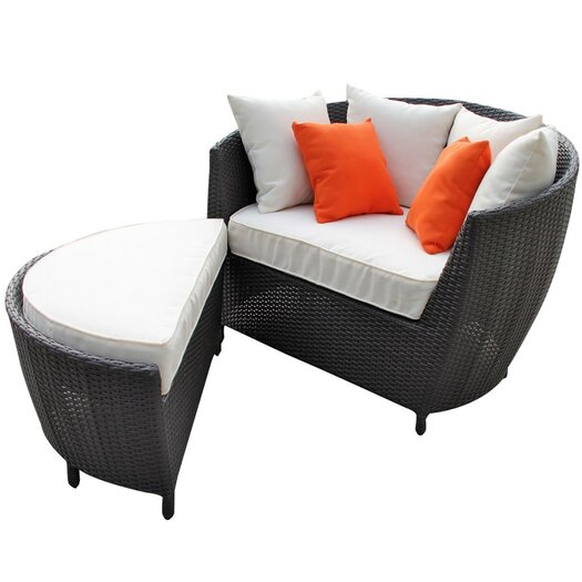 Modway Robin's Nest Outdoor Lounge Chair with Ottoman with Cushions