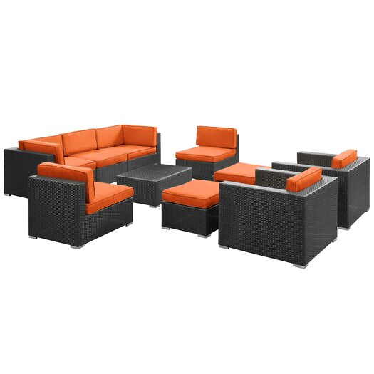 Modway Avia 10 Piece Sectional Deep Seating Group with Cushions