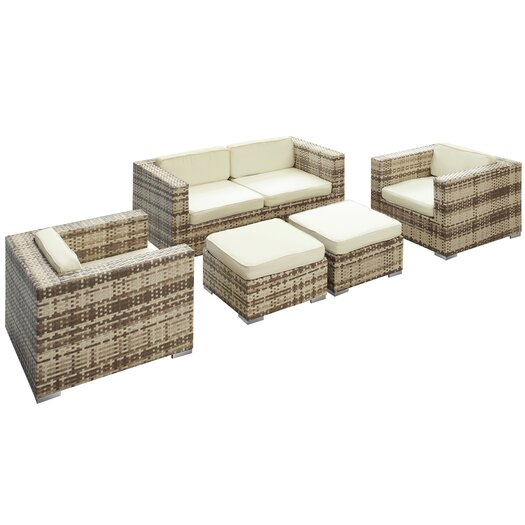 Modway Malibu 5 Piece Seating Groups with Cushions
