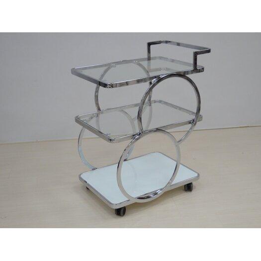 Casabianca Furniture Potenza Kitchen Cart with Glass Top