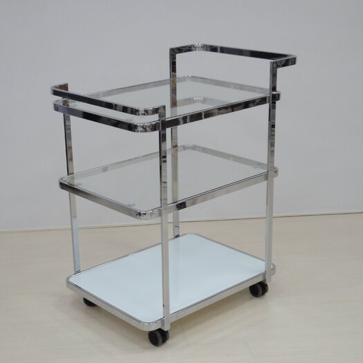Casabianca Furniture Ferrara Kitchen Cart with Glass Top