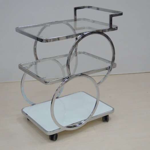 Potenza Kitchen Cart with Glass Top