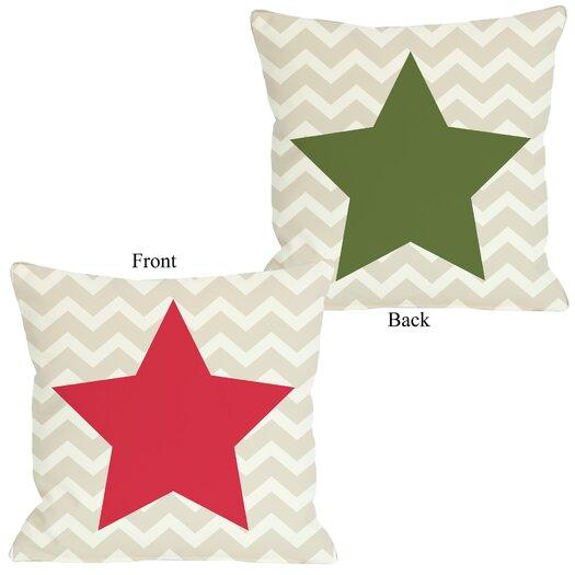 One Bella Casa Holiday Chevron Star Reversible Pillow