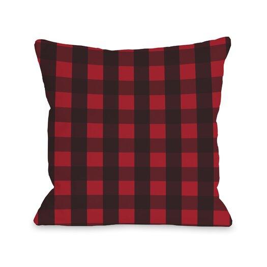 One Bella Casa Plaid Reindeer Reversible Throw Pillow