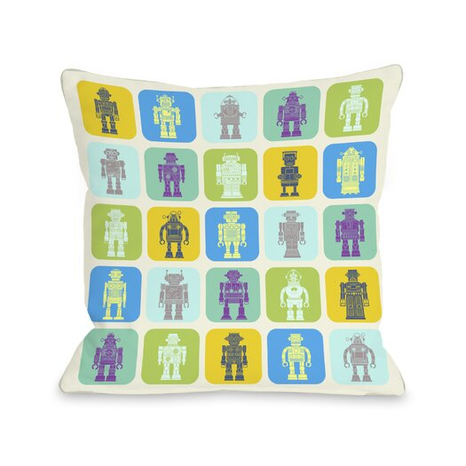 One Bella Casa Timmy's Robot Collection Pillow