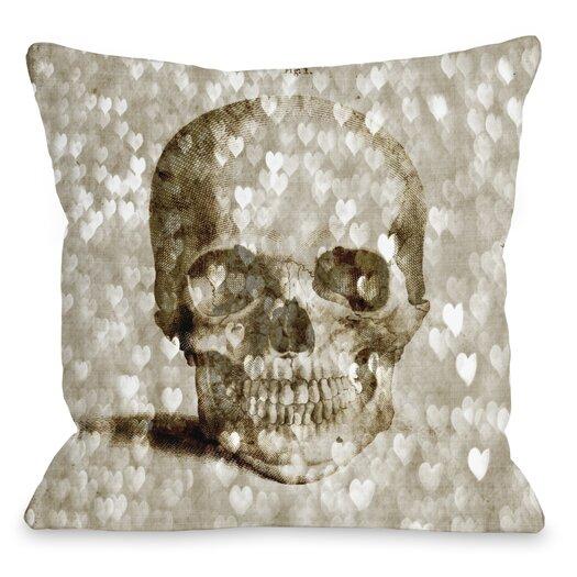 One Bella Casa Loving Skull Hearts Throw Pillow