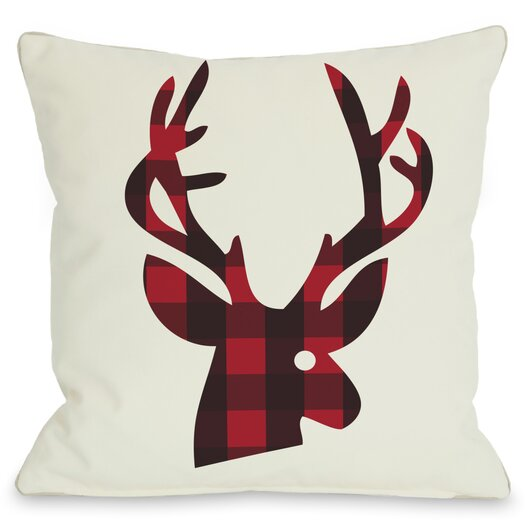 One Bella Casa Holiday Plaid Reindeer Reversible Pillow