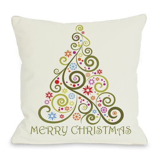 One Bella Casa Holiday Merry Christmas Whimsical Tree Pillow