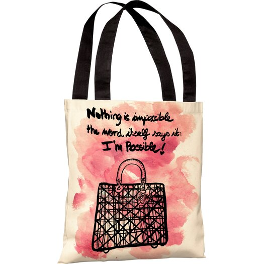 One Bella Casa Oliver Gal Nothing Is Impossible Tote Bag