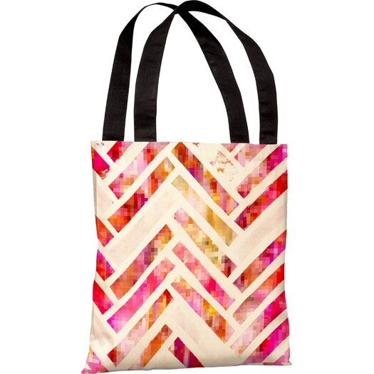 One Bella Casa Oliver Gal Sugar Flake Herringbone Tote Bag
