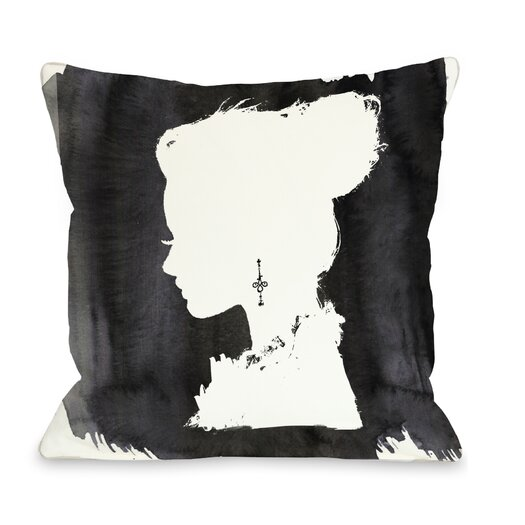 One Bella Casa Beaute Throw Pillow in Black & White