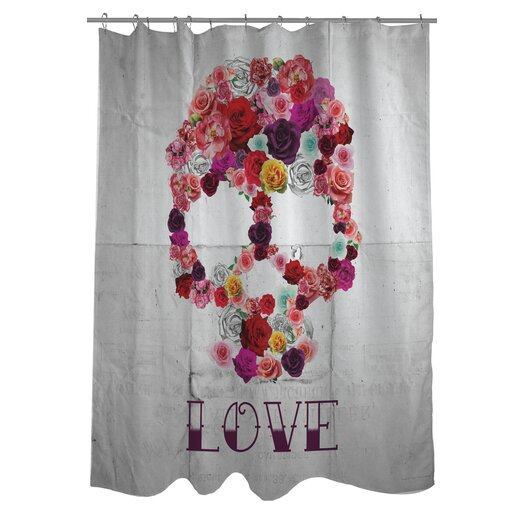 One Bella Casa Oliver Gal Bed of Roses Polyester Shower Curtain