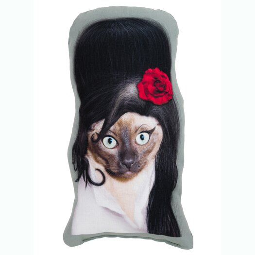 One Bella Casa Pets Rock Tattoo Shaped Pillow