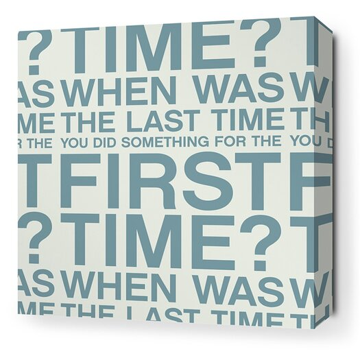 Stretched First Time Textual Art on Canvas in Cornflower