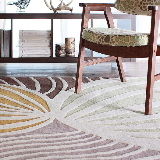 Inhabit Leaf Rug in Natural/ Apricot