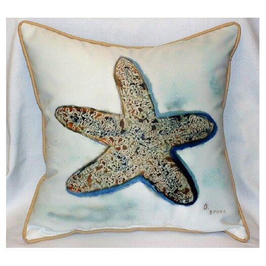 Betsy Drake Interiors Coastal Starfish Indoor / Outdoor Pillow