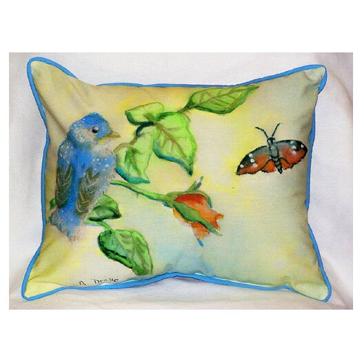 Betsy Drake Interiors Garden Bird Indoor / Outdoor Pillow