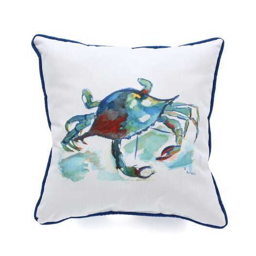 Betsy Drake Interiors Coastal Crab Indoor / Outdoor Pillow