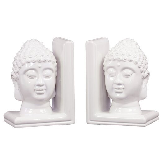 Urban Trends Ceramic Buddha Head Bookend Gloss Turquoise