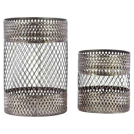 Urban Trends 2 Piece Metal Candle Holder Set