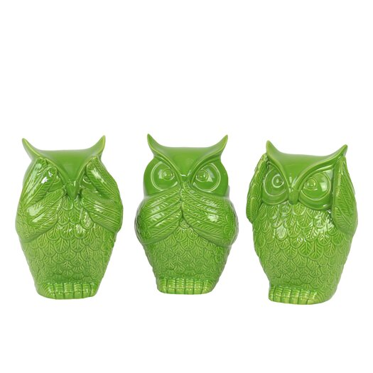 Urban Trends Ceramic Owl Three Piece Figurine Set
