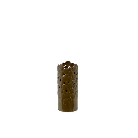 Urban Trends Ceramic Vase Cut Design Small Brown