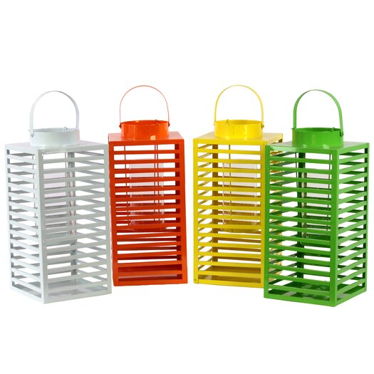 Urban Trends Metal Lantern Set of Four Assorted Color (White, Red Orange, Yellow and Green)