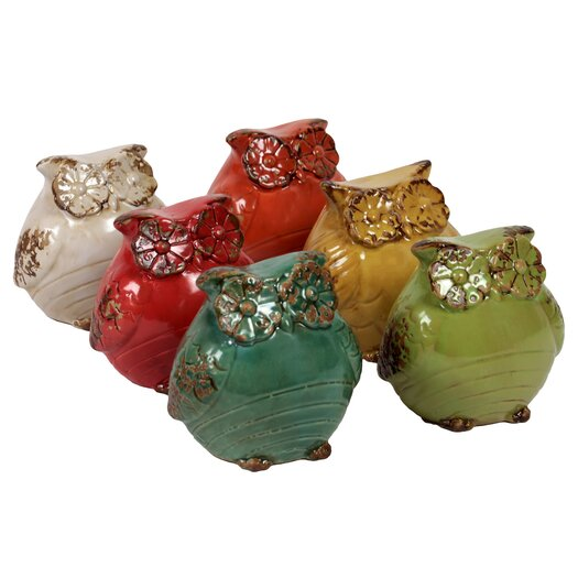 Urban Trends Ceramic Owl Set of Six Assorted Color (Red Orange, Amber, Yellow Green, Dark Sea Green, Red and Cream)
