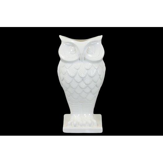 Urban Trends Ceramic Owl Vase with Base Gloss White