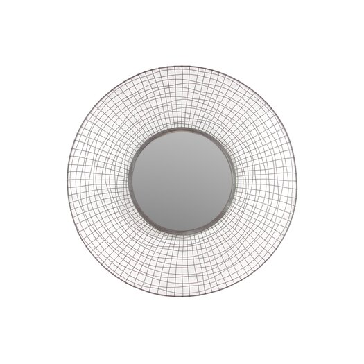 "Urban Trends Metal Circular Mirror with Concave Mesh Design Frame Dark Gray 16""D"
