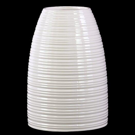 Urban Trends Ceramic Vase Rippled Gloss White