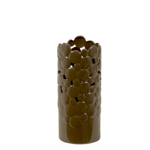 Urban Trends Ceramic Vase Cut Design Small Brown
