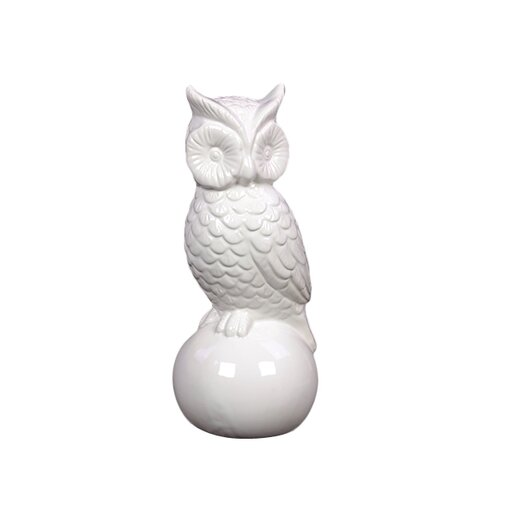 Urban Trends Ceramic Owl Gloss White