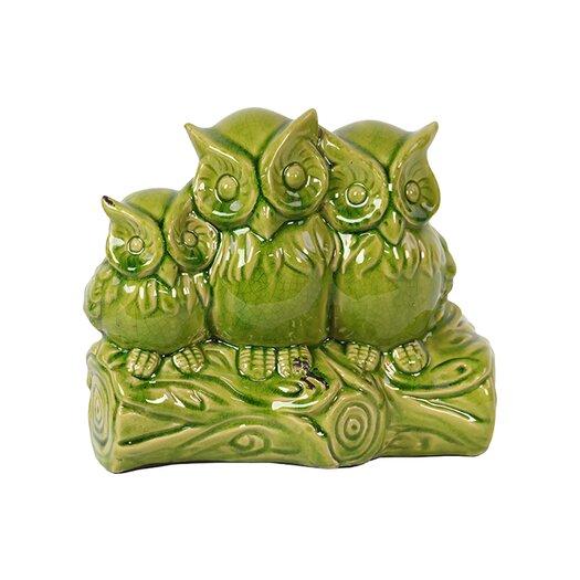 Urban Trends Ceramic Owls on a Stump Figurine