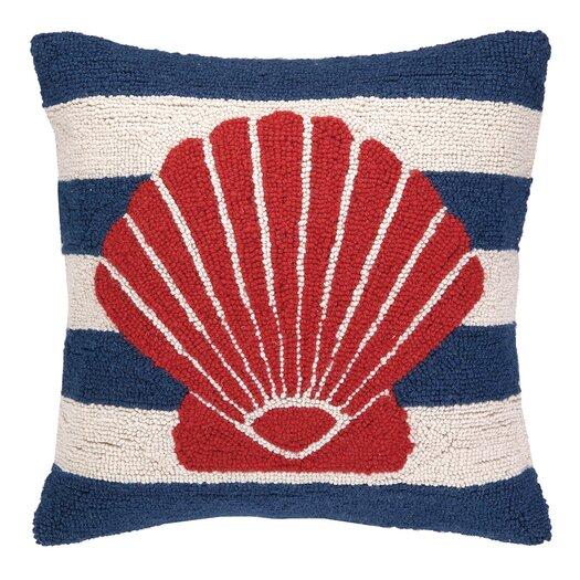 Peking Handicraft Nautical Hook Seashell Stripe Pillow
