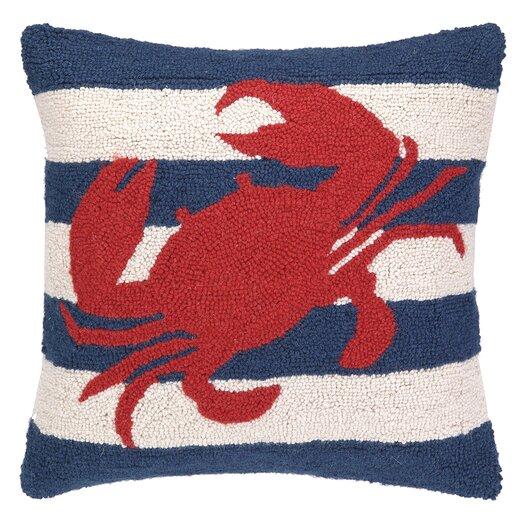 Peking Handicraft Nautical Hook Crab Stripe Pillow