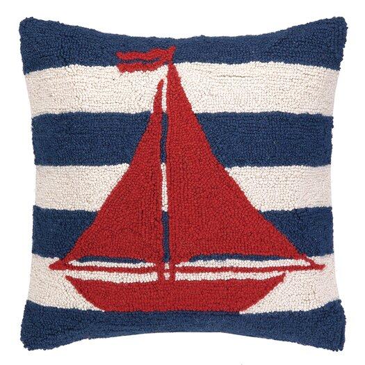 Peking Handicraft Nautical Hook Sailboat Stripe Pillow