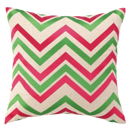 Peking Handicraft Chevron Embroidered Decorative Throw Pillow