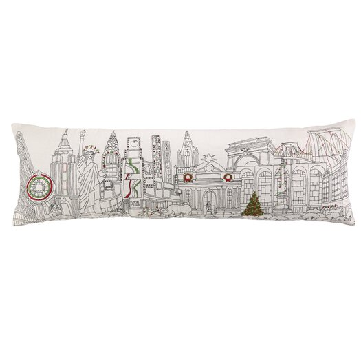 Peking Handicraft Christmas in NYC Embroidery Pillow