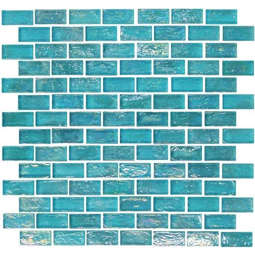"Onix USA Geo Glass Brick 1-3/5"" x 4/5"" Glass Mosaic in Blue"