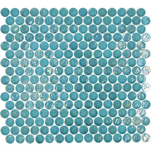 Onix USA Geo Circle Glass Frosted Mosaic in Blue