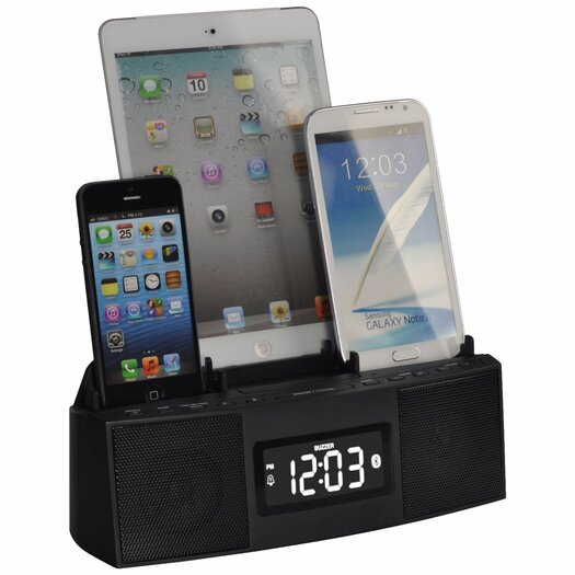 DOK 3 Port Charger Bluetooth Speakerphone Alarm Clock & FM Radio