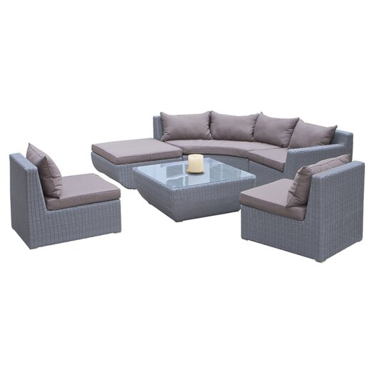 Home Loft Concept Trabuco 7 Piece Deep Seating Group in Grey with Cushions